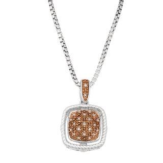 La Preciosa Sterling Silver Two-tone Brown Diamond Square Necklace
