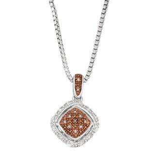 La Preciosa Sterling Silver White and Brown Diamond Square Necklace