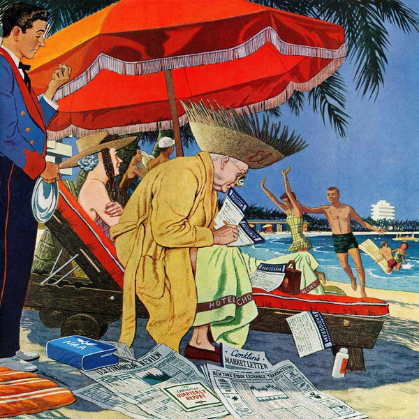 "Marmont Hill - ""Business at the Beach"" by James Williamson Painting Print on Canvas"