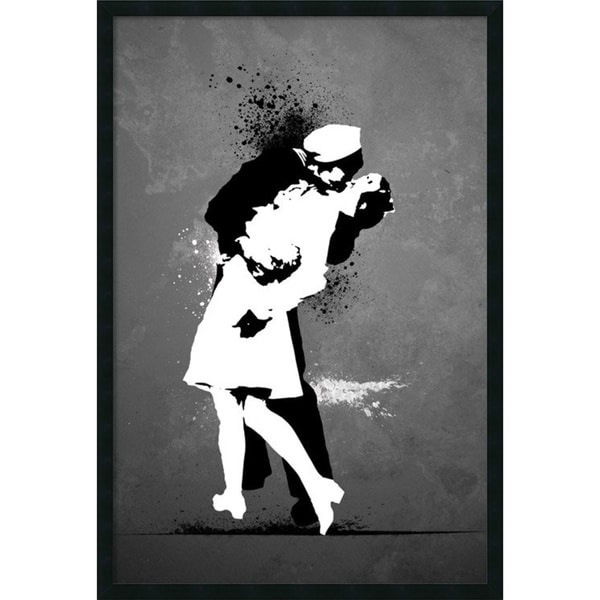 War's End Kiss 'Graffiti' 25x37-inch Framed Art with Gel Coated Finish