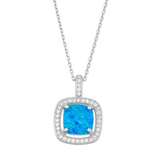 La Preciosa Sterling Silver Blue Opal and Cubic Zirconia Square Necklace