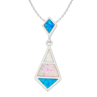 La Preciosa Sterling Silver Multi-colored Opal Necklace