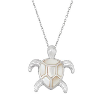 La Preciosa Sterling Silver Mother of Pearl Turtle Necklace