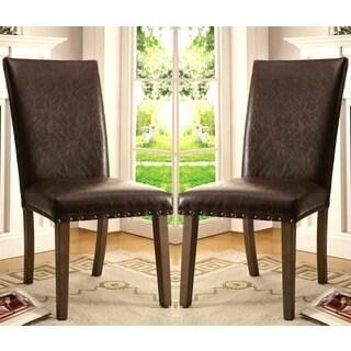 Eforea Brown Parson Chair with Nail Head Trim (Set of 2)