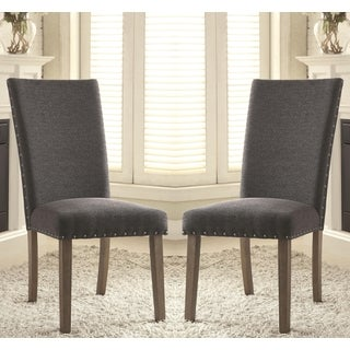 Eforea Grey Parson Chair with Nail Head Trim (Set of 2)
