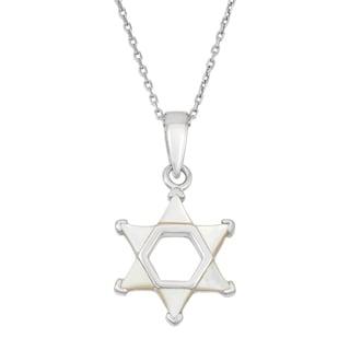 La Preciosa Sterling Silver Mother of Pearl Star of David Necklace