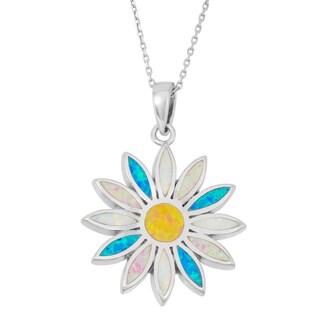 La Preciosa Sterling Silver Multi-colored Opal Sunburst Necklace