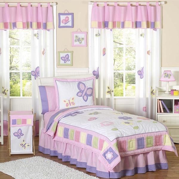 Sweet Jojo Designs Girls 4-piece Butterfly Twin Comforter Set (As Is Item)