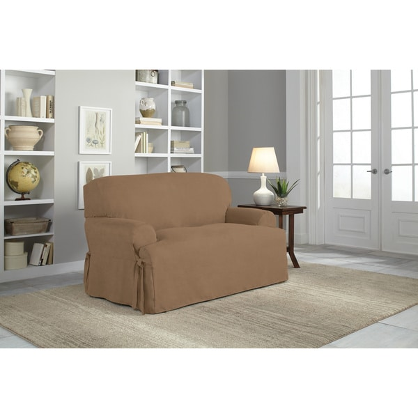 Tailor Fit Relaxed Fit Smooth Suede T-cushion Loveseat Slipcover in Chocolate (As Is Item)