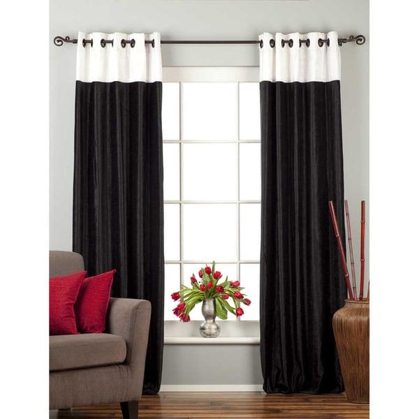 Signature Ring Top Black and White designer Velvet Curtain Panel (India) (As Is Item)