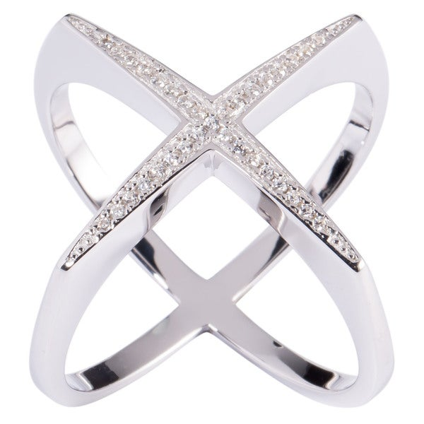 "La Preciosa Sterling Silver Designed ""X"" Ring"