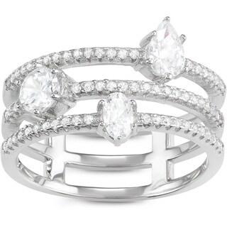 La Preciosa Sterling Silver Triple-band Cubic Zirconia Shapes Ring