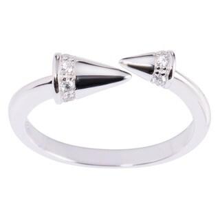 La Preciosa Sterling Silver Cubic Zirconia Cones Open Ring