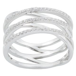 La Preciosa Sterling Silver Multi-Band Cubic Zirconia Ring