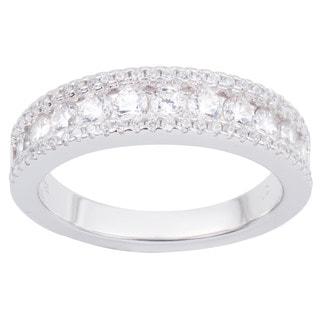 La Preciosa Sterling Silver Inset Cubic Zirconia Band Ring