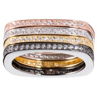 La Preciosa Sterling Silver Triple-Band Tri-Color Cubic Zirconia Square Ring Set