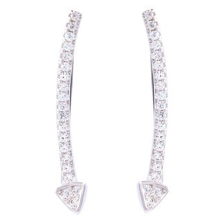 La Preciosa Sterling Silver Curved Arrow Cubic Zirconia Ear Crawler Earrings