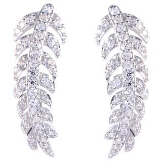 La Preciosa Sterling Silver Curved Leaf Cubic Zirconia Ear Crawler Earrings