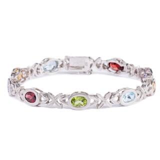 La Preciosa Sterling Silver Multi-colored Oval Gemstone Tennis Bracelet