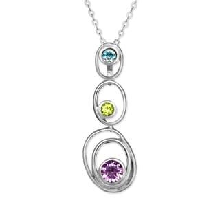La Preciosa Sterling Silver Multi-Colored Gemstone Triple Circle Pendant