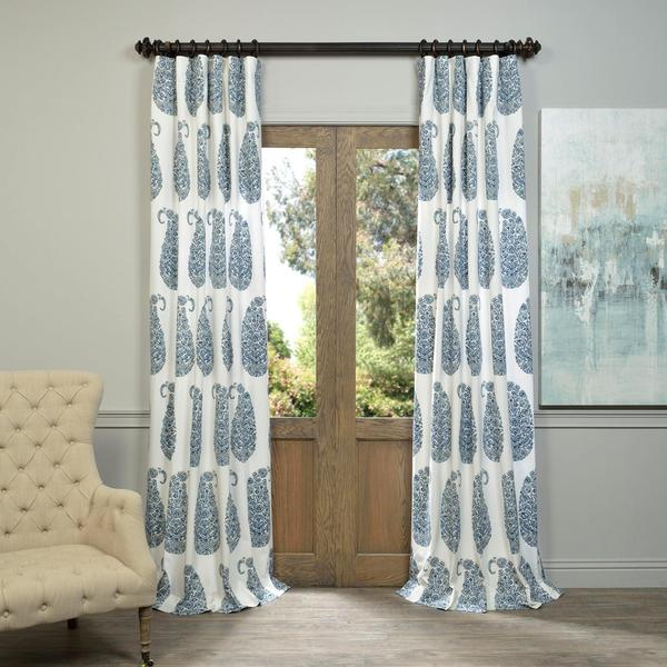 Exclusive Fabrics and Furnishings Paisley Park Printed Cotton Twill Curtain Panel