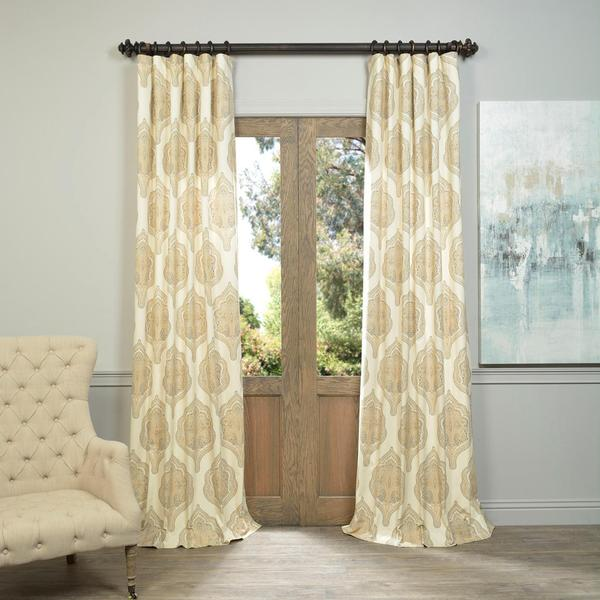 Exclusive Fabrics and Furnishings Arabesque Tan Printed Cotton Twill Curtain Panel
