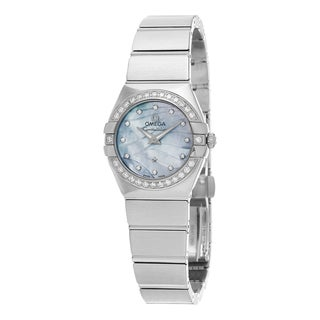 Omega Women's 123.15.24.60.57.001 'Constellation' Blue Mother of Pearl Dial Diamond Stainless Steel Swiss Quartz Watch