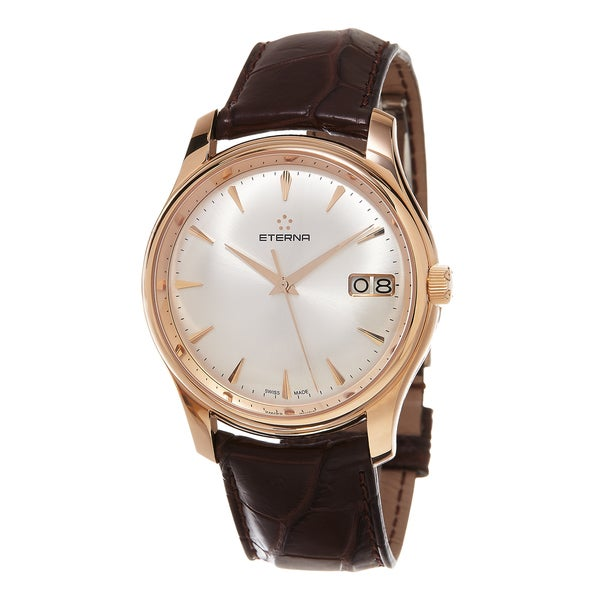 Eterna Men's 7630.69.10.1185 'Vaughan' Silver Dial Brown Leather Strap Rose Gold Big Date Swiss Automatic Watch
