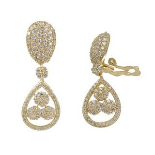 Gold Finish Sterling Silver Cubic Zirconia Floral Teardrop Clip-on Earrings