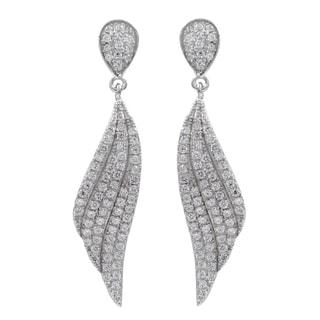 Sterling Silver Micropave Cubic Zirconia Cascade Dangle Earrings