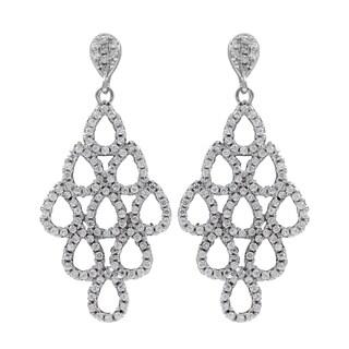 Sterling Silver Pave Cubic Zirconia Teardrop Cluster Dangle Earrings