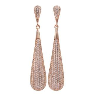 Rose Gold Finish Sterling Silver Micropave Cubic Zirconia Teardrop Dangle Earrings