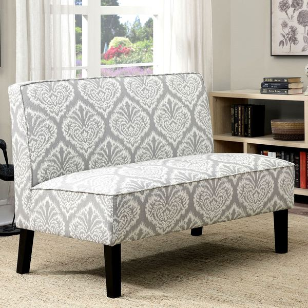 Madrid Grey Patterned Upholstered Living Room Settee