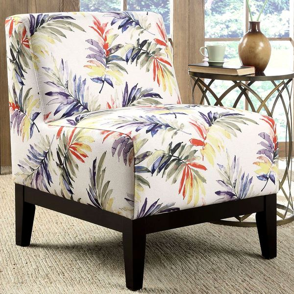 Sycamore Artistic Purple/Green Leaf Printed Design Slipper Accent Chair