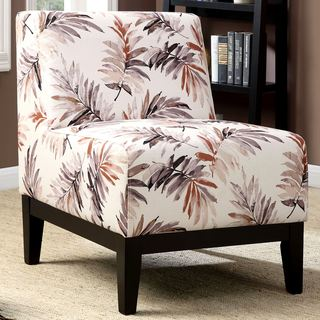 Sycamore Artistic Red/Purple Leaf Printed Design Slipper Accent Chair