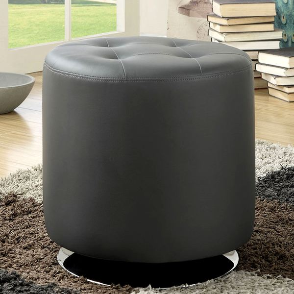 Leisure Modern Round Grey Tufted Swivel Ottoman