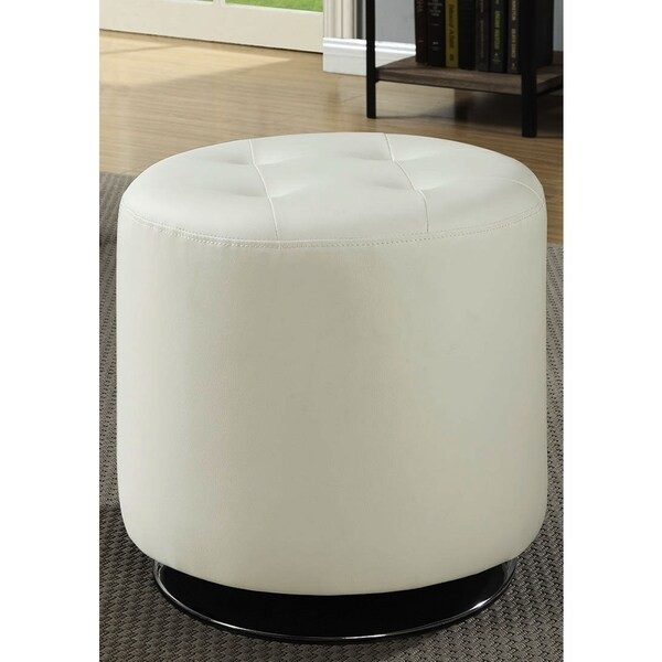 Leisure Modern Round Cream/ White Tufted Swivel Ottoman