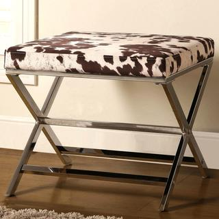 Artisan Cow Print Sleek Design Chrome Accent Bench Ottoman