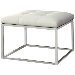 Keser Chrome Sleek Design Cream/ White Upholstered Accent Bench Ottoman