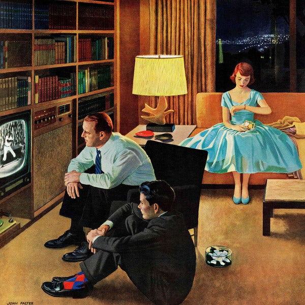 Marmont Hill - 'Date with the Television' by John Falter Painting Print on Canvas