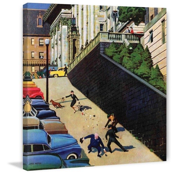 Marmont Hill - 'Spilled Purse on Steep Hill' by John Falter Painting Print on Canvas