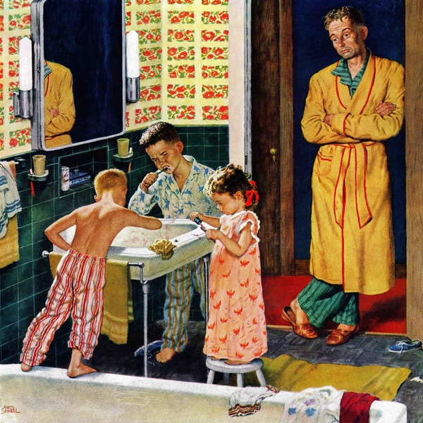 Marmont Hill - 'Brushing Their Teeth' by Amos Sewell Painting Print on Canvas