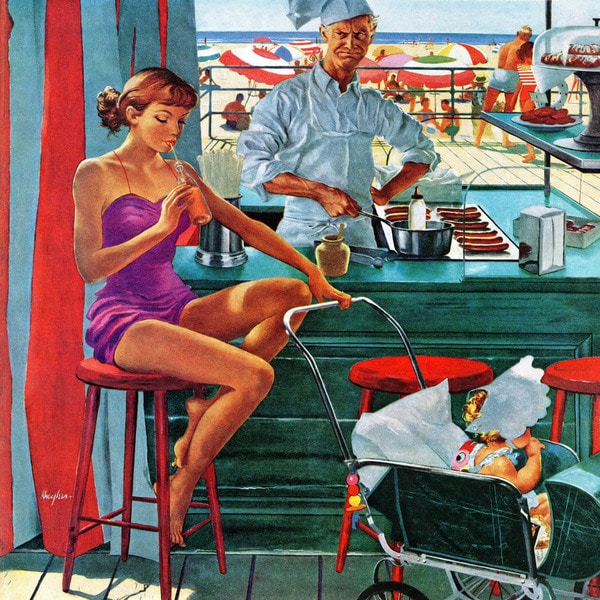 Marmont Hill - 'Babysitter at Beach Stand' by George Hughes Painting Print on Canvas