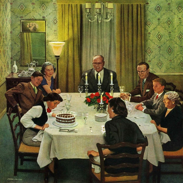 Marmont Hill - 'Family Birthday Party' by John Falter Painting Print on Canvas