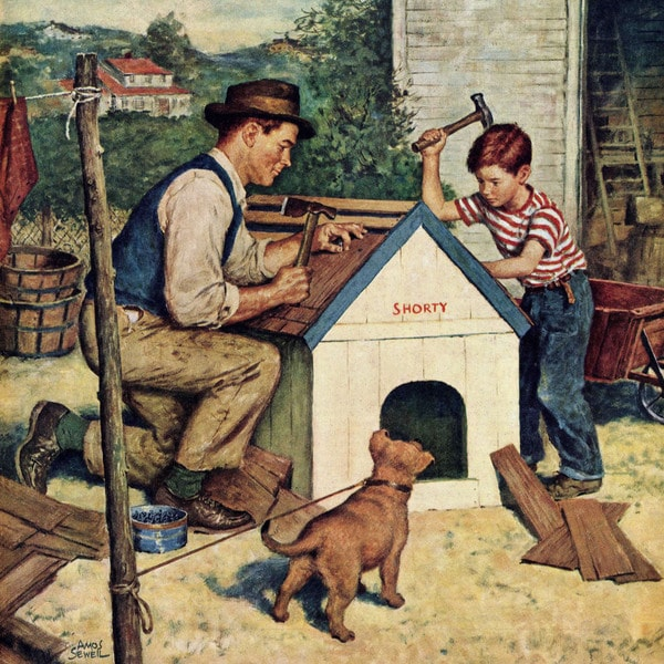 Marmont Hill - 'Building the Doghouse' by Amos Sewell Painting Print on Canvas