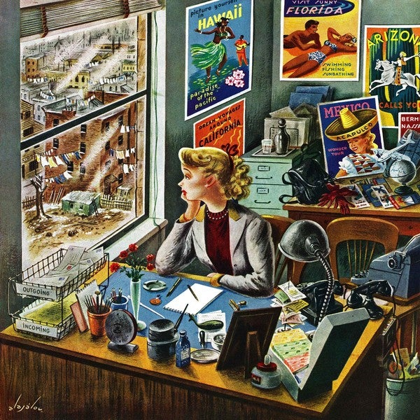 Marmont Hill - 'Travel Agent at Desk' by Constantin Alajalov Painting Print on Canvas