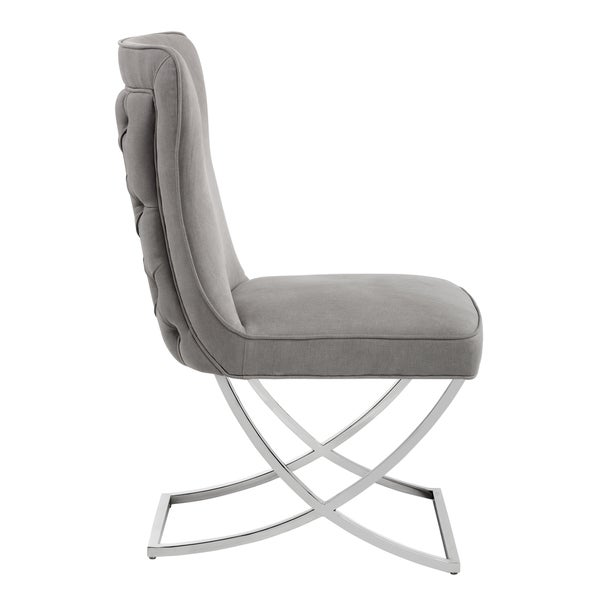 Sunpan Rivoli Vintage Linen Grey Fabric Dining Chair