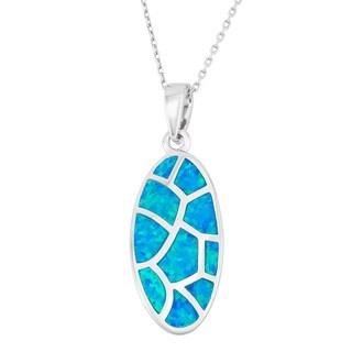 La Preciosa Sterling Silver Opal Designed Oval Necklace