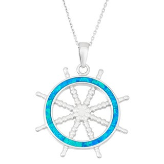 La Preciosa Sterling Silver Blue Opal Ship's Wheel Necklace
