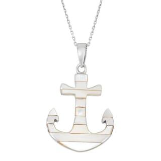 La Preciosa Sterling Silver Mother of Pearl Striped Anchor Necklace